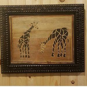 Other - Framed African Giraffe Wood Art